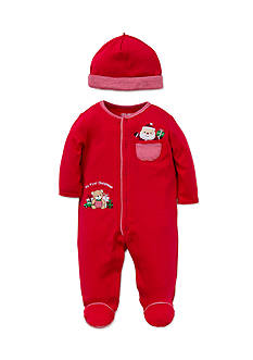 Little Me Red Holiday Gift Footie 2-Piece Set