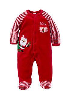 Little Me Red Santa Velour Footie Bodysuit