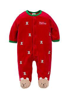 Little Me Red Bear Velour Footie Bodysuit