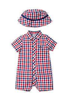 Little Me 2-Piece Plaid Anchor Romper and Hat Set