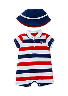 Little Me USA Stripe Romper With Hat