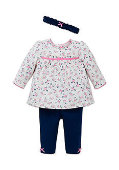 Little Me Navy Floral 3-Piece Tunic Set