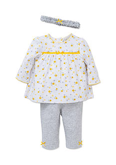 Little Me Gray Daisy 3-Piece Tunic Set