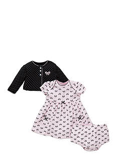 Little Me Bow Print Cardigan, Dress, and Bloomers Set