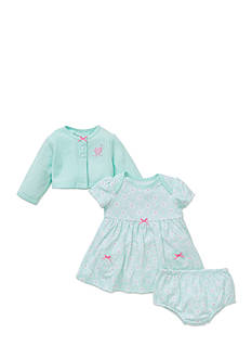 Little Me 3-Piece Cardigan, Dress, and Bloomer Set