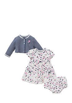 Little Me Heart Cardigan, Dress, and Bloomers Set