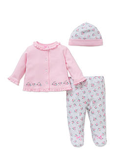 Little Me 3-Piece Floral Tunic, Hat, and Footed Pants Set