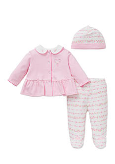 Little Me 3-Piece Ribbon Roses Tunic, Hat, and Footed Pants Set