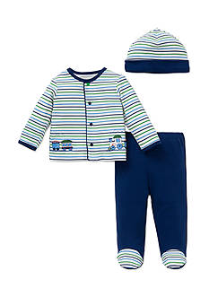 Little Me 3-Piece Train Tunic, Hat and Footed Pants Set