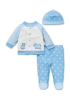 Little Me 3-Piece Bear Cardigan, Hat and Footed Pants