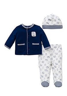 Little Me 3-Piece Bear Cardigan, Hat, and Footed Pants Set