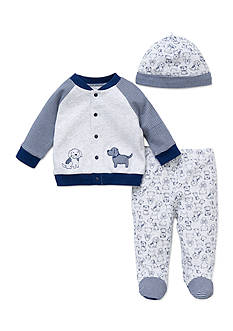 Little Me 3-Piece Puppy Pals Cardigan, Hat, and Footed Pants Set