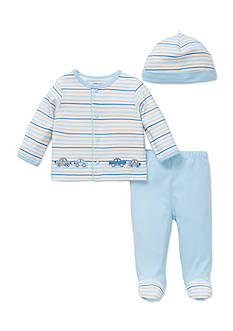 Little Me 3-Piece Striped Cars Tunic, Hat, and Footed Pants Set