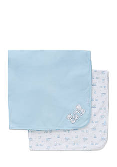 Little Me 2-Piece Bear Embroidered Receiving Blanket