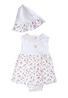 Little Me Dainty Blossoms Dress & Hat Set