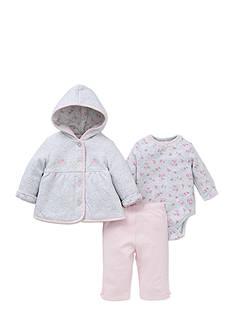 Little Me 3-Piece Floral Bodysuit, Jacket and Pants Set