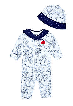 Little Me Newborn Girls Nautical Rose Coverall With Sailor Hat