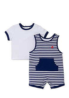 Little Me 2-Piece Happy Sails Shortall and Shirt Set