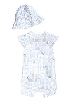Little Me Dainty Blossoms Dot Romper & Hat Set