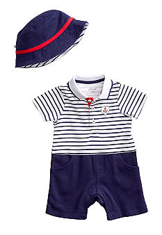 Little Me Drop Anchor Romper with Hat