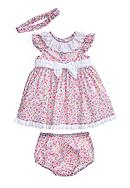 Little Me Dainty Floral Print Dress with Matching Panty and Headband