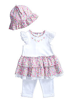 Little Me Dainty Blossoms Dress and Legging with Hat