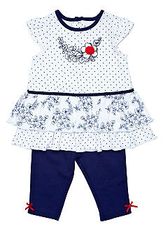 Little Me Newborn Girls Nautical Rose Dress With Legging
