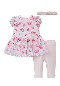 Little Me 3-Piece Whimsical Blooms Dress, Legging, and Headband Set