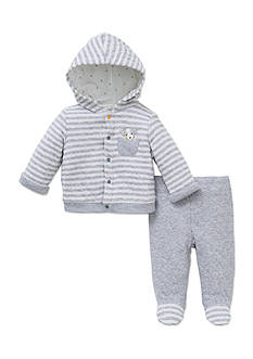 Little Me 2-Piece Striped Puppy Hooded Jacket and Pants Set