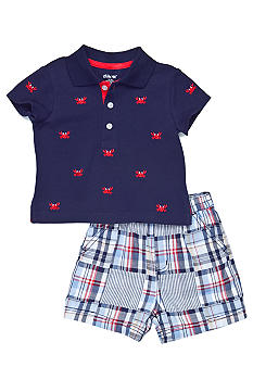 Little Me Embroidered Crab Short Set
