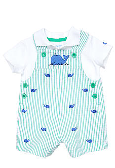 Little Me Embroidered  Whale Shortall Set
