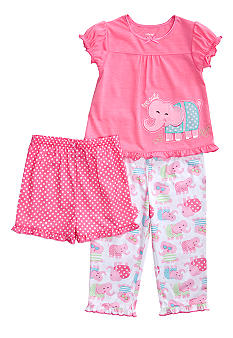 Little Me Happy Elephant Applique 3-piece Pajama Set Toddler Girls