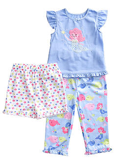 Little Me Mermaid Applique 3-piece Pajama Set Toddler Girls