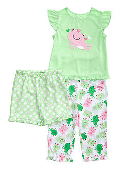 Little Me Happy Frog Applique 3-piece Pajama Set Toddler Girls