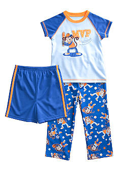 Little Me Sport Monkey Applique 3-piece Pajama Set Toddler Boy