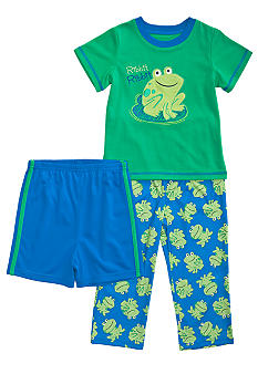 Little Me Frog Applique 3-piece Pajama Set Toddler Boy