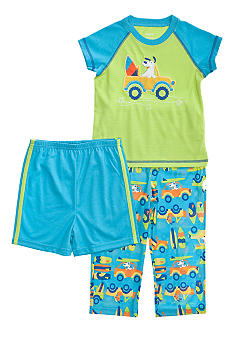 Little Me Surf Dog Applique 3-piece Pajama Set Toddler Boy