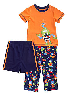 Little Me Robot Applique 3-piece Pajama Set Toddler Boy
