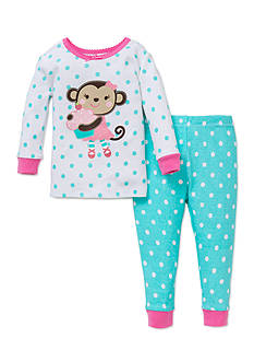 Little Me Girls 4-6 Monkey 2-Piece Pajama