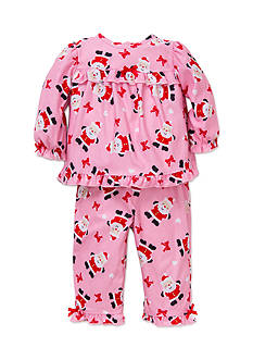 Little Me Pink Santa Coat 2-Piece Polyester Pajama Set