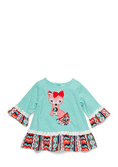 Nursery Rhyme Ruffle Hem Fox Top Infant/Baby Girls