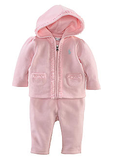 Ralph Lauren Childrenswear 2-Piece Terry Ruffled Hoodie Set
