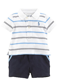 Ralph Lauren Childrenswear 2-Piece Striped Polo Short Set