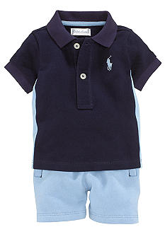 Ralph Lauren Childrenswear 2-Piece Contrast Polo Short Set