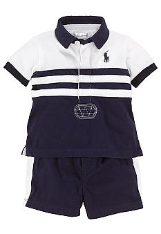 Ralph Lauren Childrenswear 2-Piece Color Blocked Rugby Short Set