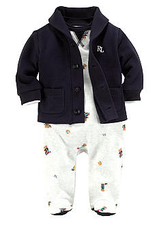 Ralph Lauren Childrenswear 3-Piece Bear Overall Set