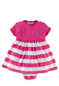 Ralph Lauren Childrenswear Pink Jersey Striped Dress