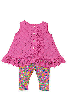 Ralph Lauren Childrenswear Eyelet Top and Floral Legging Set