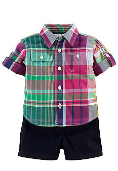 Ralph Lauren Childrenswear Plaid Button Down and Classic Short Set