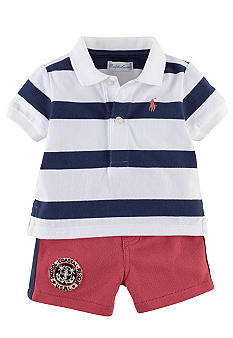 Ralph Lauren Childrenswear Rugby Stripe Polo and Short Set
